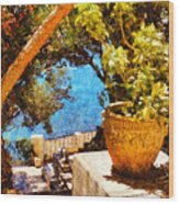 Mediterranean Steps Wood Print by Pixel Chimp