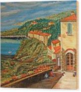 Mediterrean Coast Wood Print
