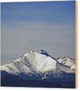Meeker And Longs Peak Massive In Snow Wood Print