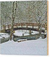 Meeks Park Bridge In Snow Wood Print