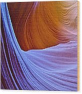 Meeting Of The Curves In Lower Antelope Canyon In Lake Powell Navajo Tribal Park-arizona  Wood Print