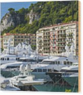Mega Yachts In Port Of Nice France Wood Print