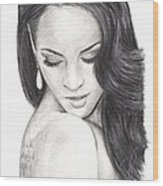 Megan Fox Wood Print by Rosalinda Markle