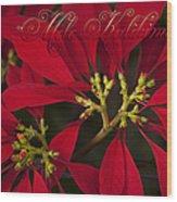 Mele Kalikimaka - Poinsettia  - Euphorbia Pulcherrima Wood Print