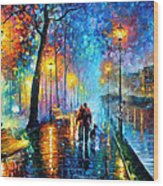 Melody Of The Night - Palette Knife Landscape Oil Painting On Canvas By Leonid Afremov Wood Print