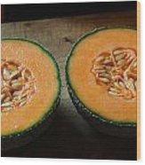 Melon Halves Wood Print