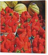 Melons And Strawberries Wood Print