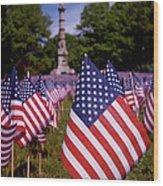 Memorial Day Flag Garden Wood Print