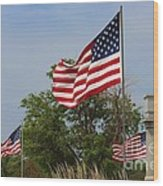 Memorial Day Flag's With Blue Sky Wood Print by Robert D  Brozek