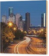 Memorial Drive And Houston Skyline Wood Print