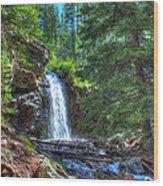 Memorial Falls With Sky Wood Print