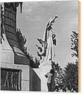 Memorial Statue Children Playing Juarez Chihuahua Mexico 1977 Black And White Wood Print