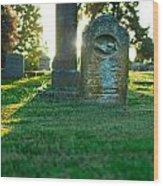 Memphis Elmwood Cemetery - Backlit Grave Stones Wood Print