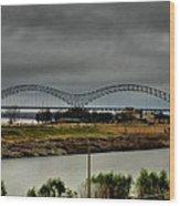 Memphis - Hernando De Soto Bridge 004 Wood Print by Lance Vaughn