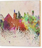 Memphis Skyline In Watercolor Background Wood Print