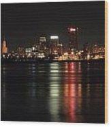 Memphis Tn Skyline At Night Wood Print