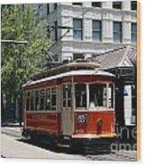Memphis Trolley On Main Street Wood Print