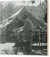 Men At Mining Camp Wood Print