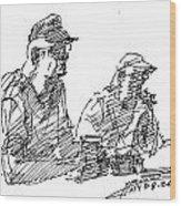 Men At The Bar Wood Print
