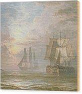 Men Of War At Anchor Wood Print