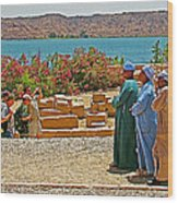 Men On Philae Island In Aswan-egypt  Wood Print