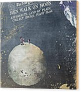 Men Walk On Moon Astronauts Wood Print