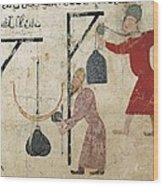 Men Weighing Goods. Fatimid Period Wood Print by Everett