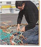 Mending The Nets Wood Print
