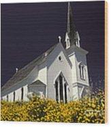 Mendocino Presbyterian Church Wood Print by Ron Sanford