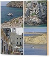 Menorca Collage 02 - Labelled Wood Print