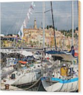 Menton, France.  View Over Harbour Wood Print