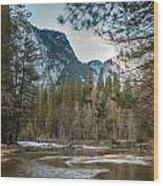 Merced River And Upper Yosemite Falls Wood Print