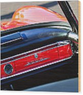 Mercedes 300 Sl Dashboard Emblem Wood Print