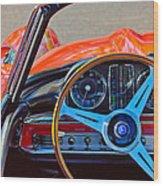 Mercedes-benz 300 Sl Steering Wheel Emblem Wood Print
