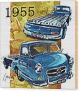 Mercedes Benz Racing Car Transport Wood Print