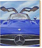 Mercedes Gullwing In Blue Wood Print