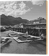 Merchants Wharf In Black And White Wood Print