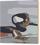 Merganser Reflections Wood Print