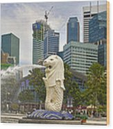 Merlion Park In Singapore Wood Print
