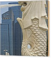 Merlion Statue By Singapore River Wood Print