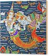 Mermaid And Beast  Wood Print