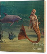 Mermaid And Dolphin Wood Print
