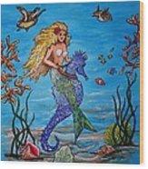 Mermaid And Seahorse Morning Swim Wood Print