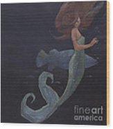 Mermaid And The Blue Fish Wood Print