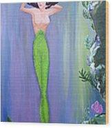 Mermaid And Treasure Chest  Wood Print