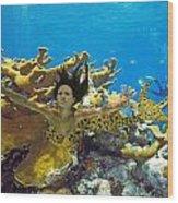 Mermaid Camoflauge Wood Print by Paula Porterfield-Izzo
