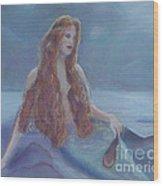 Mermaid In Moonlight Wood Print