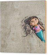 Mermaid In The Sand Wood Print