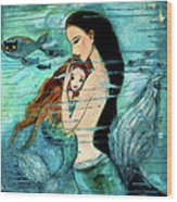 Mermaid Mother And Child Wood Print by Shijun Munns