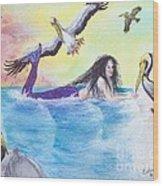 Mermaid Pelicans Surf Beach Cathy Peek Art Wood Print